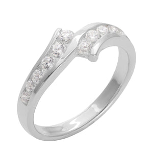 Load image into Gallery viewer, Sterling Silver 12 Cubic Zirconia Curved Band Ring