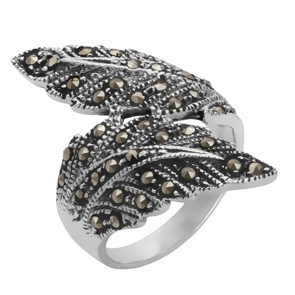 Sterling Silver Simulated Marcasite Feather Ring - Silverly