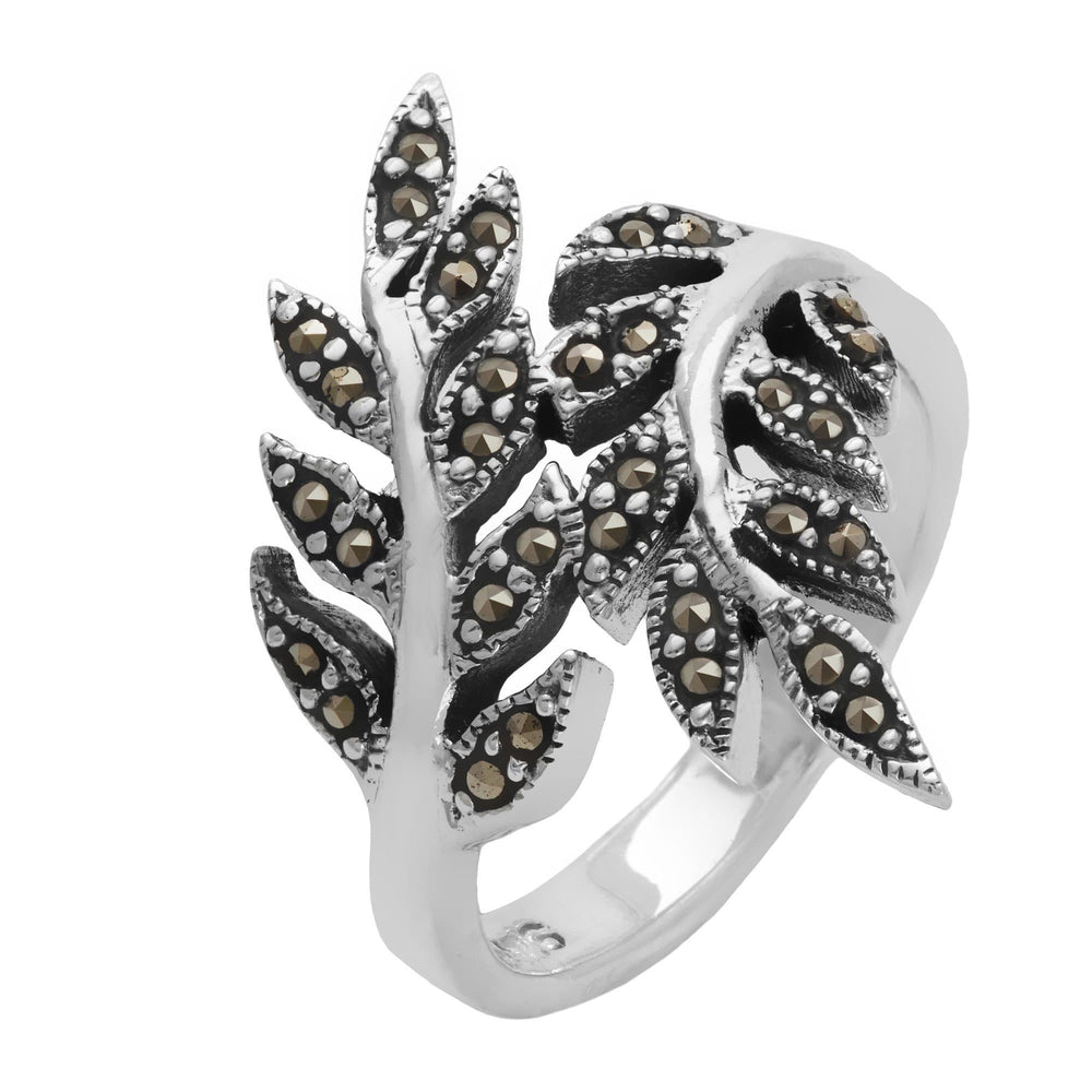 Sterling Silver Simulated Marcasite Overlapping Leaf Ring - Silverly