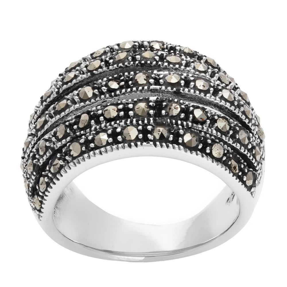 Sterling Silver Simulated Marcasite Wide Multi Layer Ring