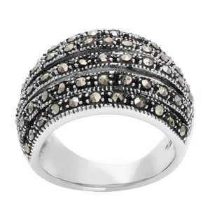 Load image into Gallery viewer, Sterling Silver Simulated Marcasite Wide Multi Layer Ring
