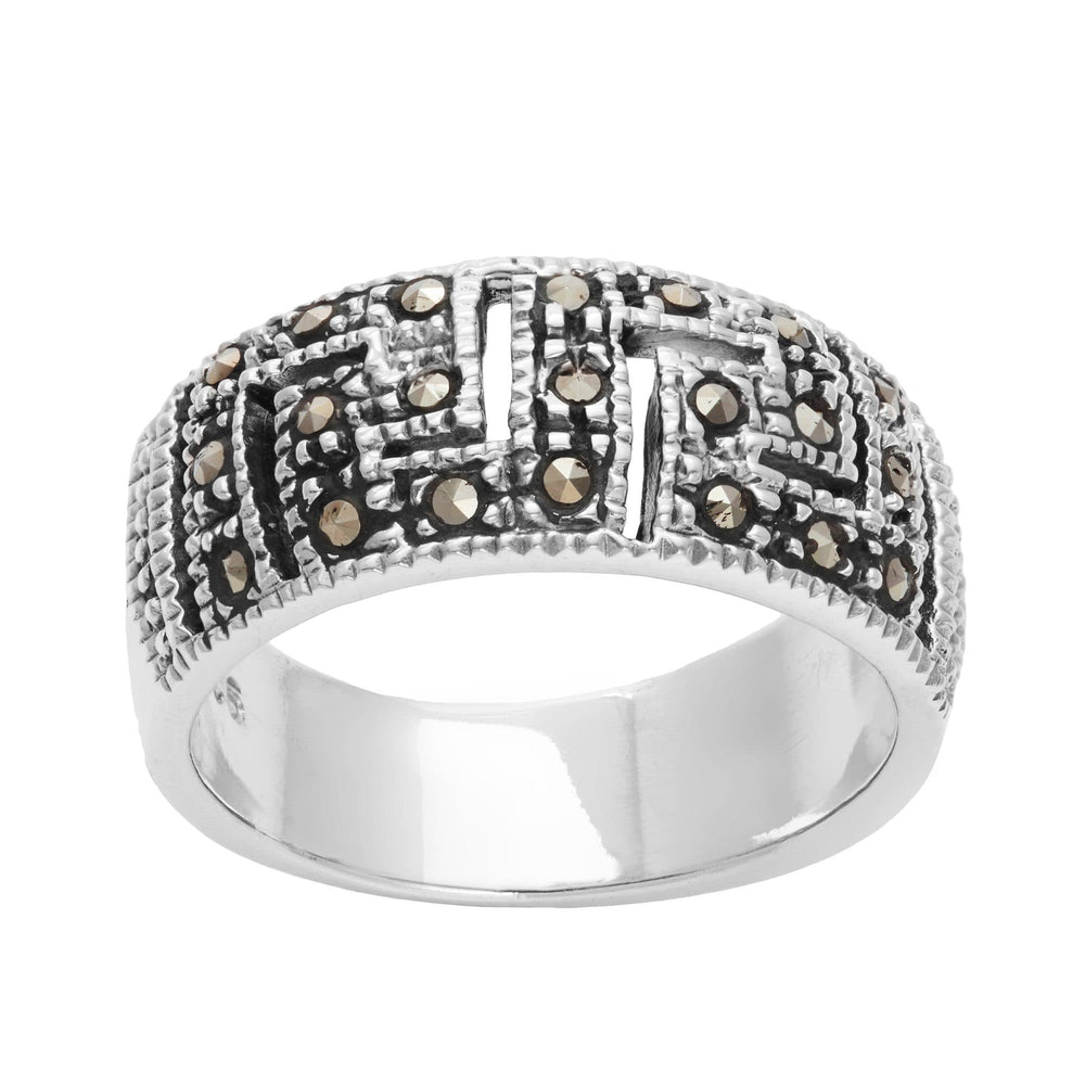 Sterling Silver Simulated Marcasite Greek Key Cut Ring