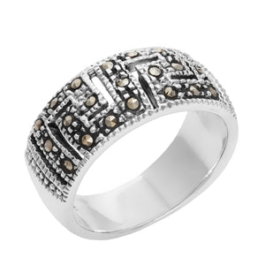 Load image into Gallery viewer, Sterling Silver Simulated Marcasite Greek Key Cut Ring