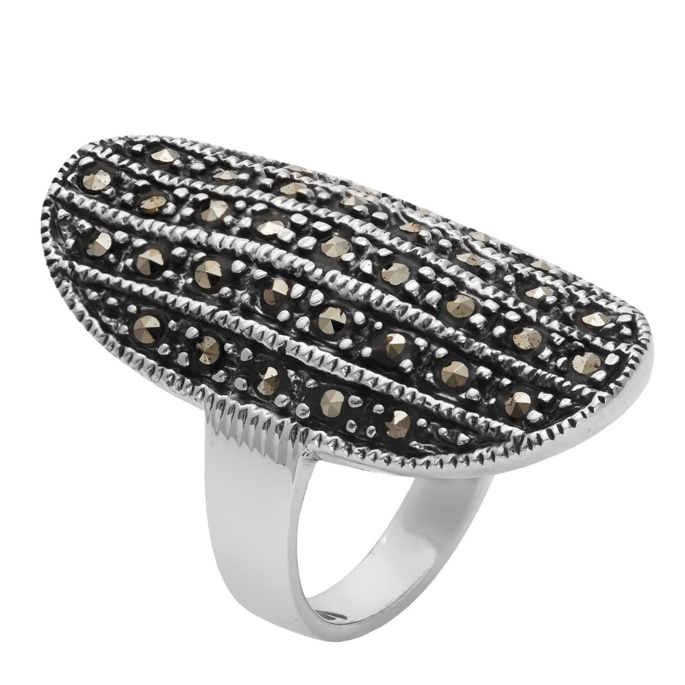 Sterling Silver Simulated Marcasite Oval Curved Ring - Silverly
