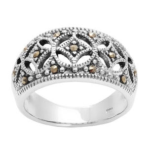 Load image into Gallery viewer, Sterling Silver Simulated Marcasite Art Deco Style Ring - Silverly