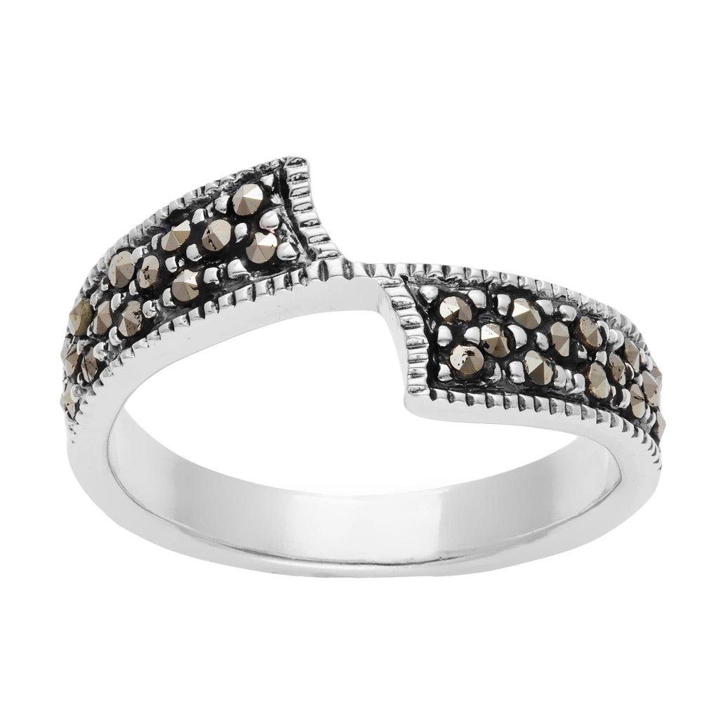 Sterling Silver Simulated Marcasite Crossover 'Z' Ring