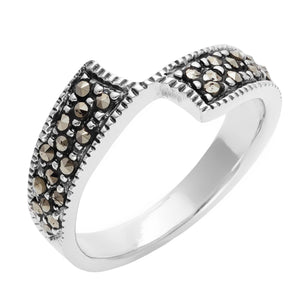 Load image into Gallery viewer, Sterling Silver Simulated Marcasite Crossover 'Z' Ring
