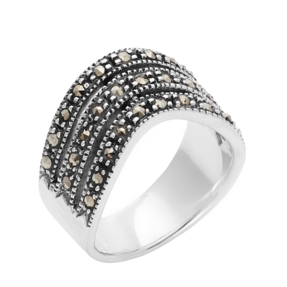 Load image into Gallery viewer, Sterling Silver Marcasite Triple Curve Chevron Ring