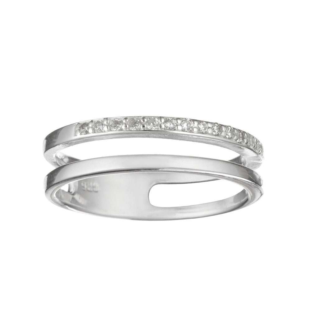Sterling Silver 15 CZ Double Line Stackable Ring