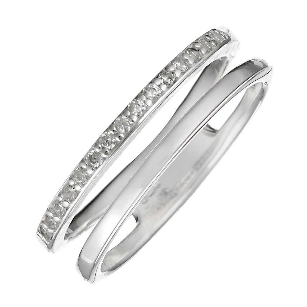 Load image into Gallery viewer, Sterling Silver 15 CZ Double Line Stackable Ring