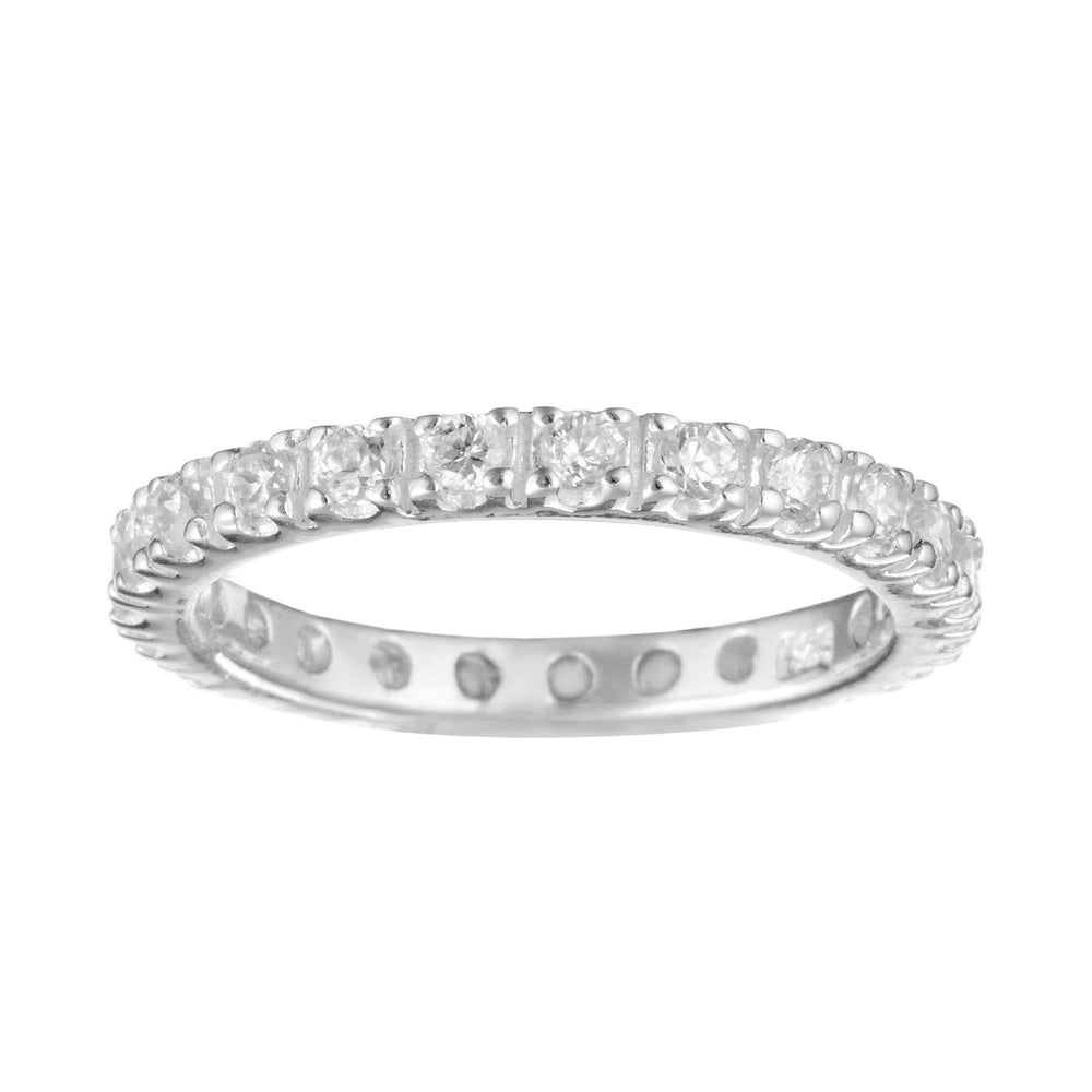 Sterling Silver Pave CZ Round Brilliant Full Eternity Ring - Silverly
