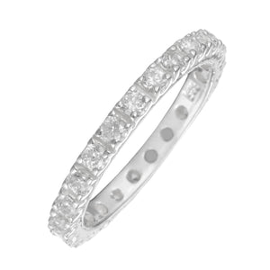 Load image into Gallery viewer, Sterling Silver Pave CZ Round Brilliant Full Eternity Ring - Silverly