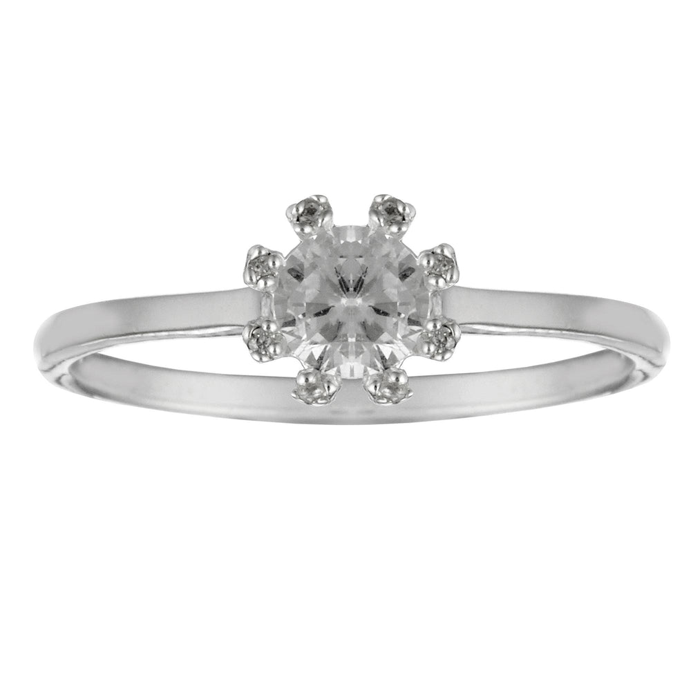 Sterling Silver Solitaire Radiance CZ Brilliant Round Cut Ring