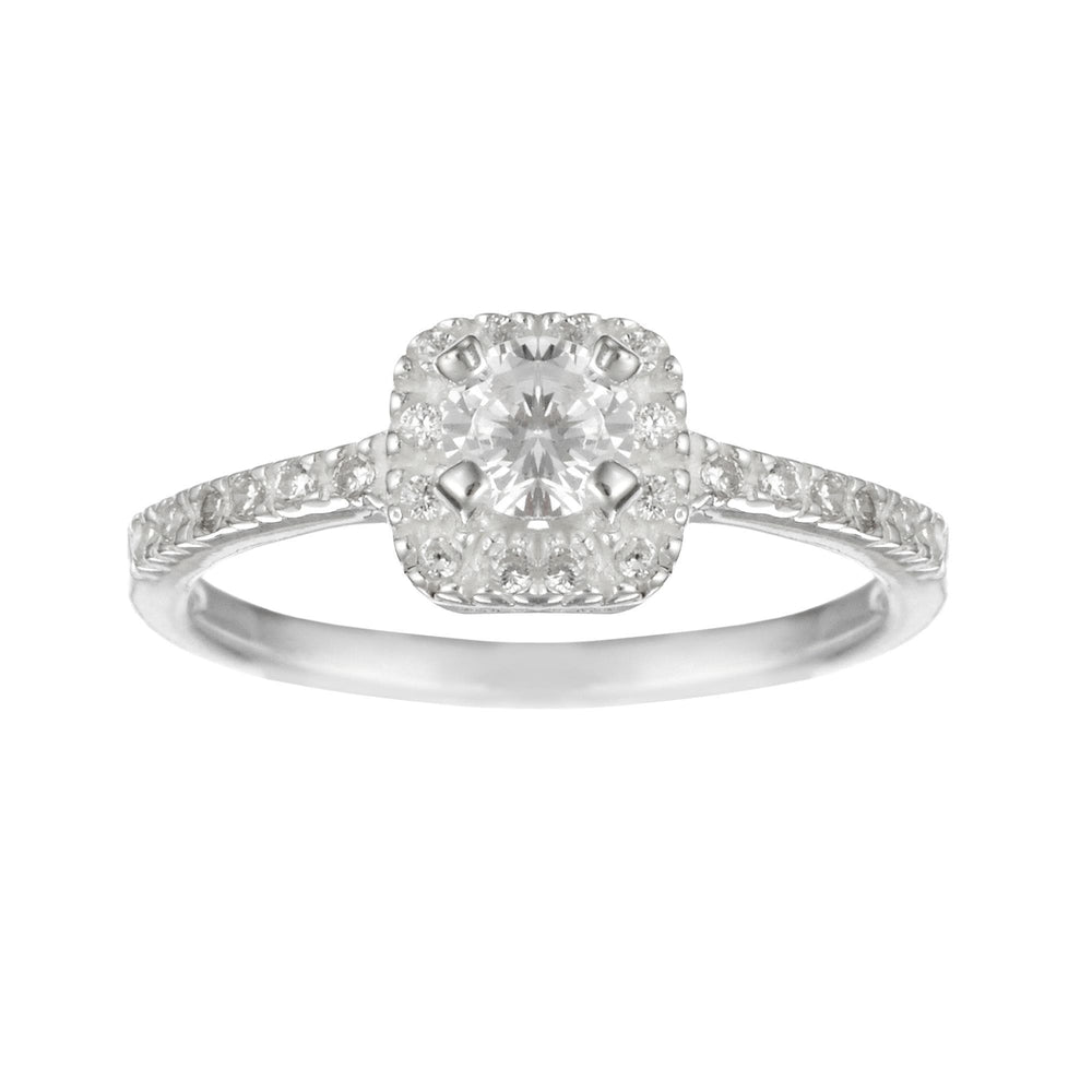 Sterling Silver Square Solitaire CZ Round Brilliant Cut Ring - Silverly