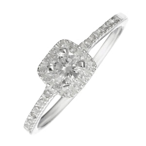 Load image into Gallery viewer, Sterling Silver Square Solitaire CZ Round Brilliant Cut Ring - Silverly