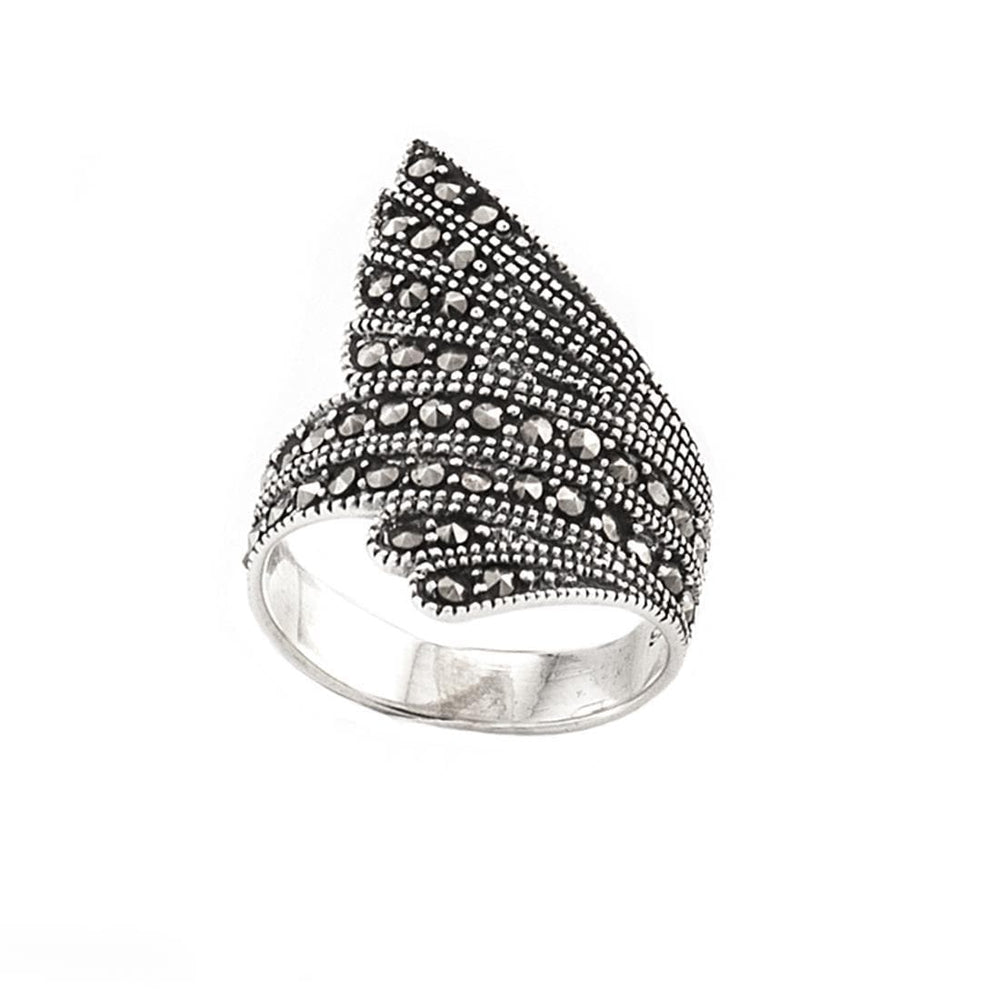 Sterling Silver Marcasite Feather Ring - Silverly