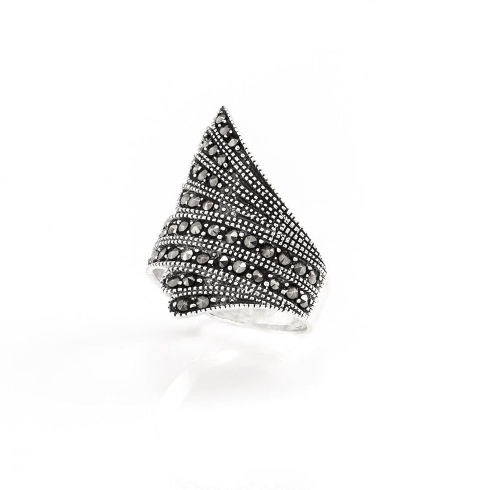 Load image into Gallery viewer, Sterling Silver Marcasite Feather Ring - Silverly
