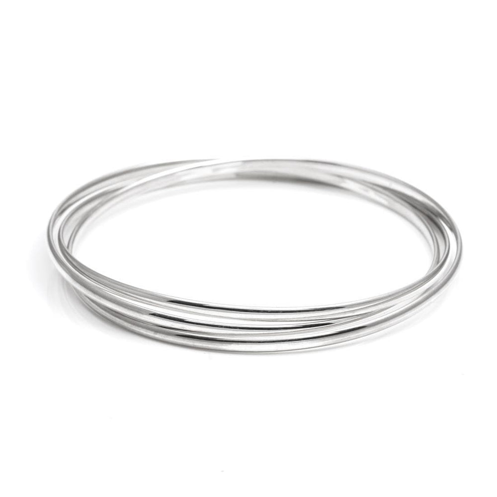 Sterling Silver Triple Interlocking Bangle - Silverly