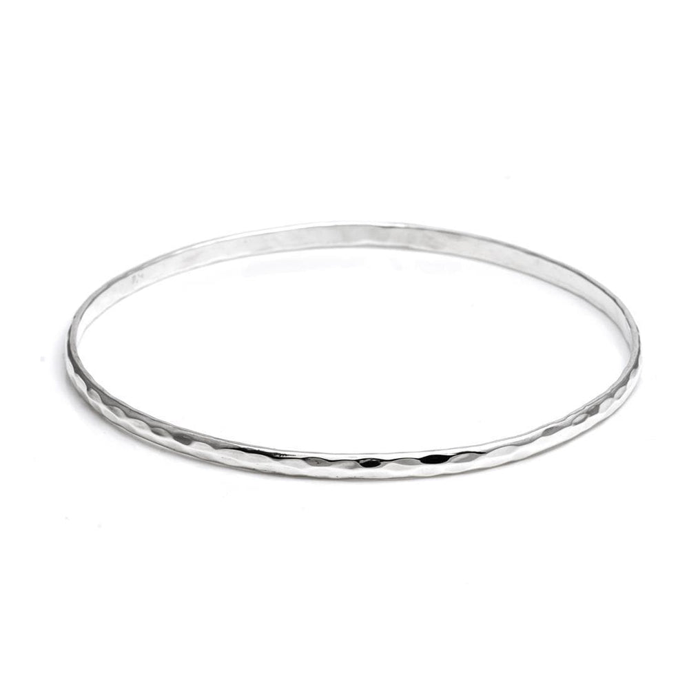Sterling Silver Thin Hammered Bangle - Silverly