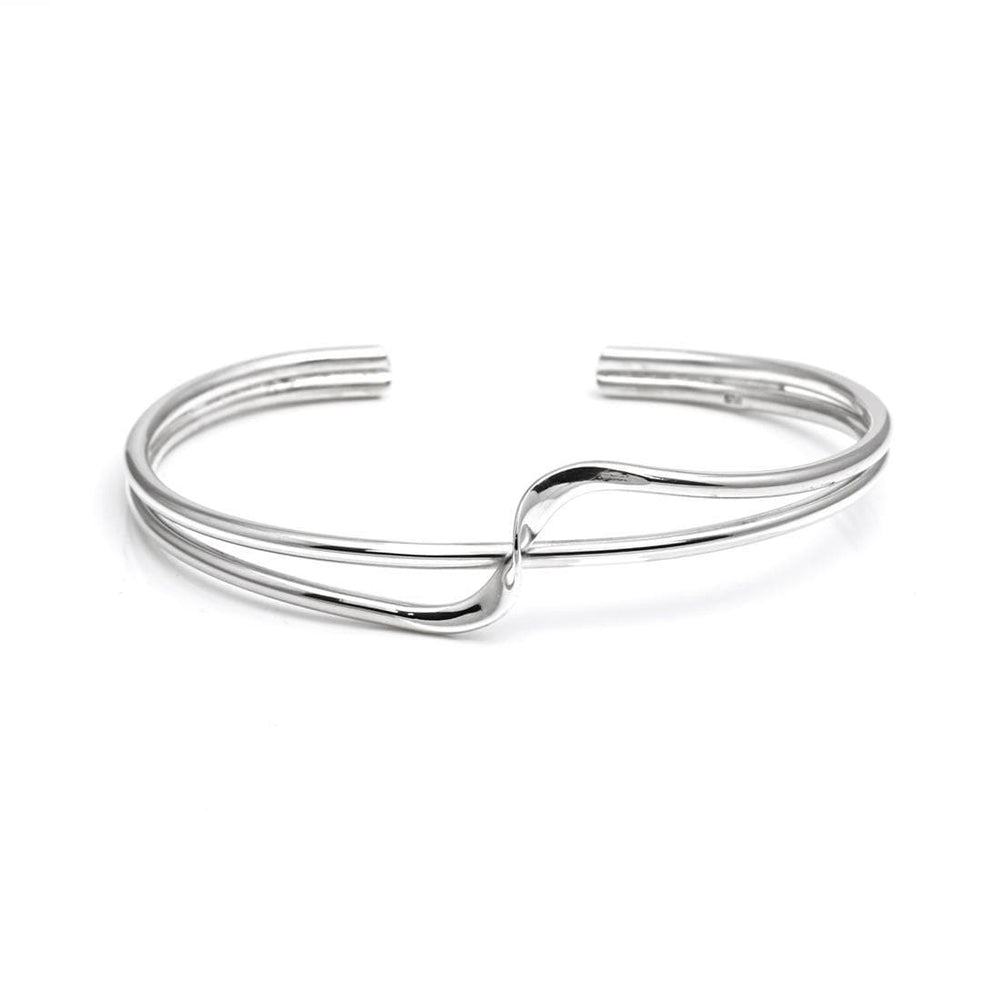 Sterling Silver Swirl Elegant Twist Bangle - Silverly