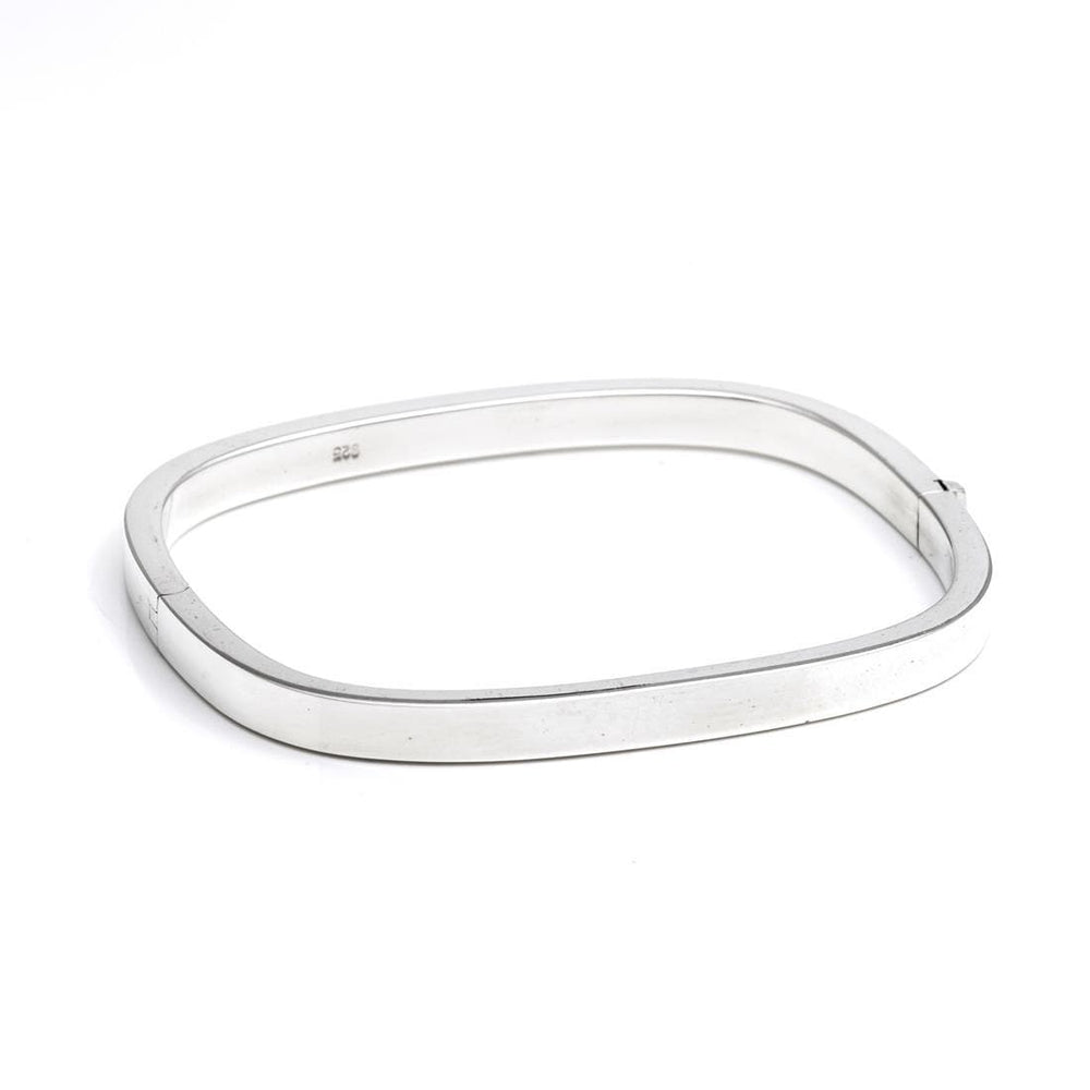 Sterling Silver 5mm Square Hinged Bangle - Silverly