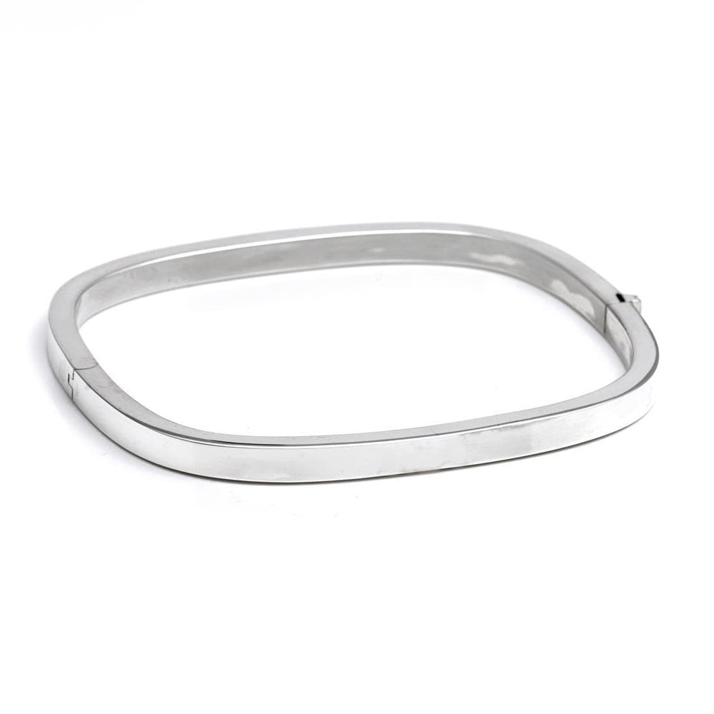 Sterling Silver 4 mm Square Hinged Bangle