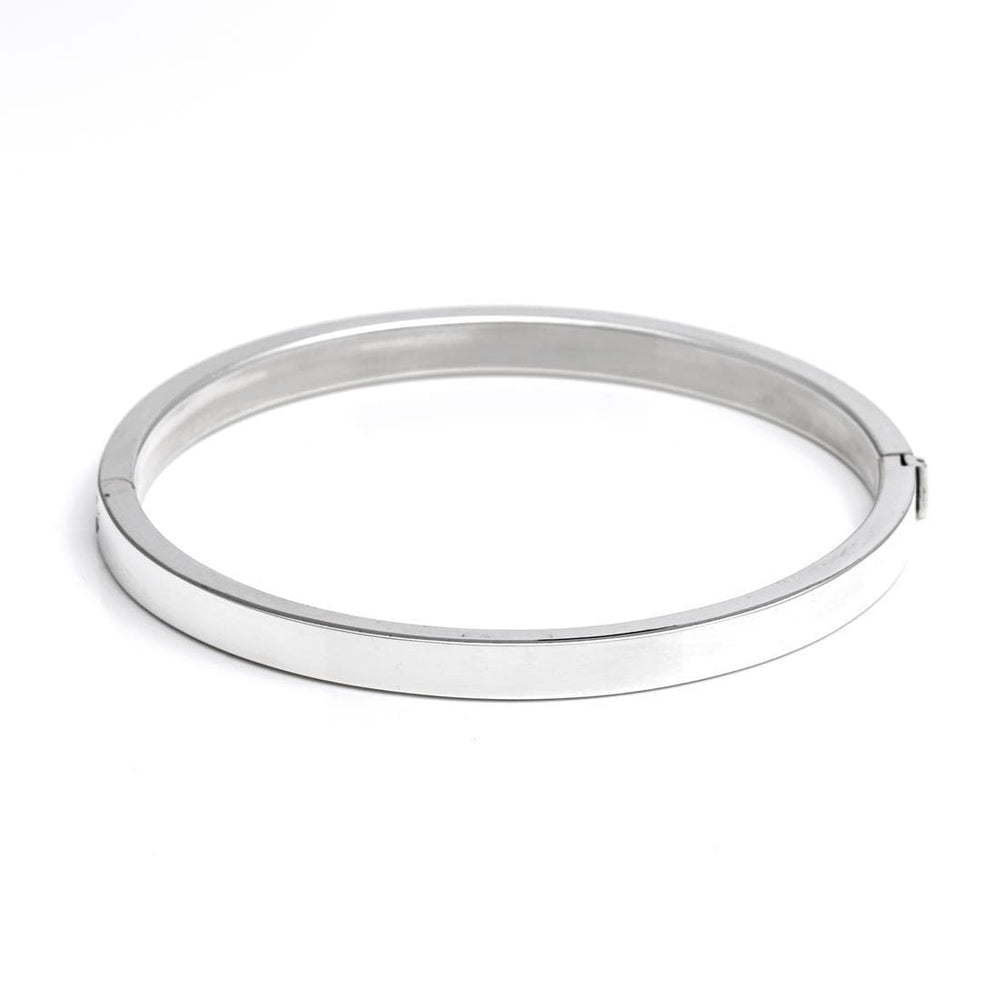 Sterling Silver 5 mm Round Hinged Bangle - Silverly