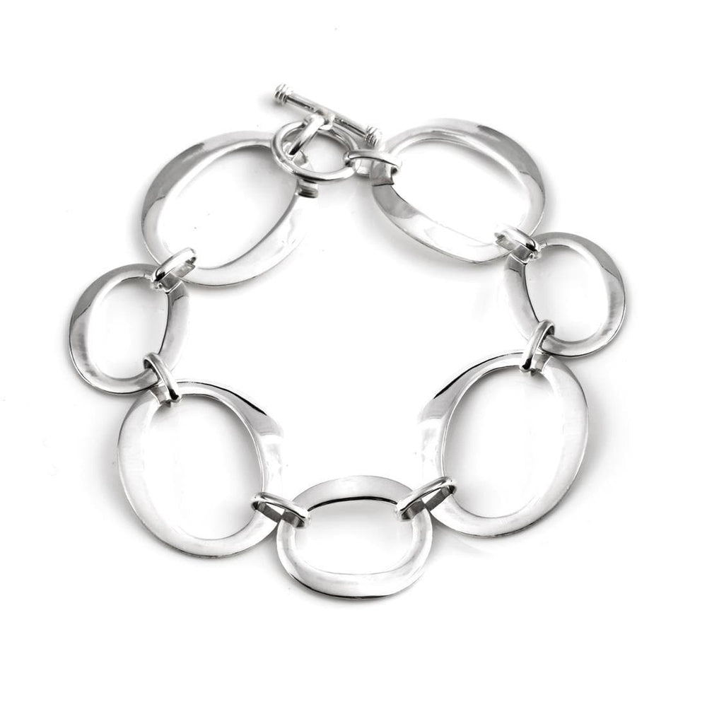 Sterling Silver Open Oval Link Bracelet - Silverly