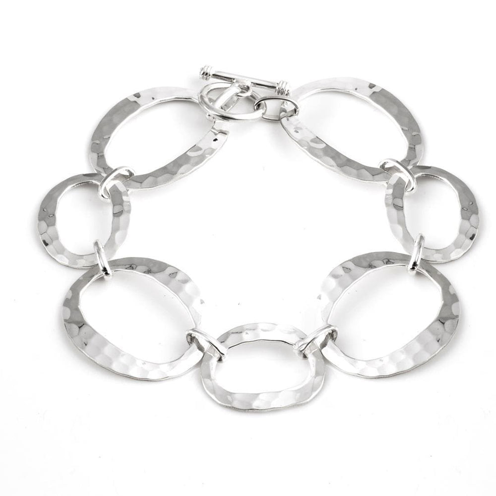Sterling Silver Oval Circles Link T-bar Bracelet - Silverly