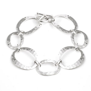 Load image into Gallery viewer, Sterling Silver Oval Circles Link T-bar Bracelet - Silverly
