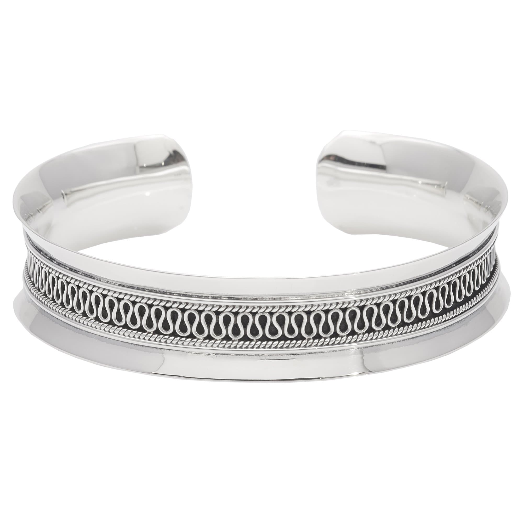 cubic sterling in with bracelet open cuff zirconia bangle silver bangles