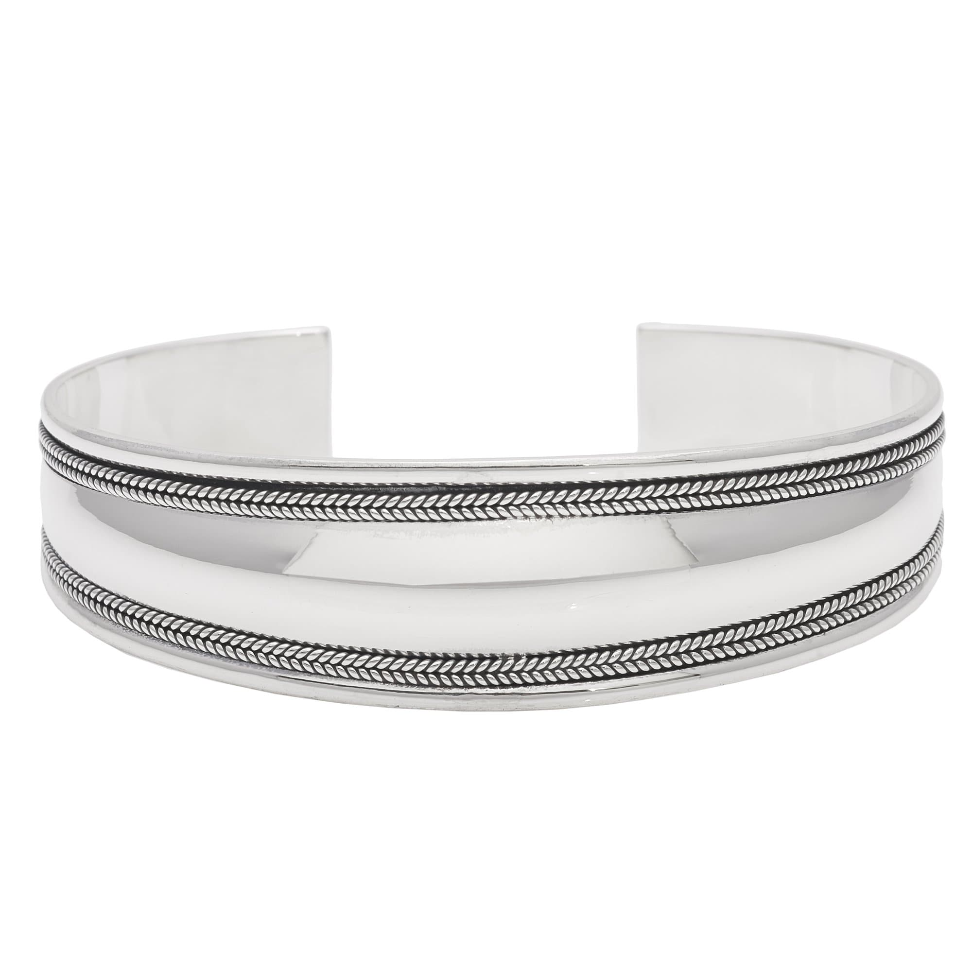 cd2f3ab0066 Silver Thick Bangle Firm Cuff Bracelet Double Balinese Design - Silverly