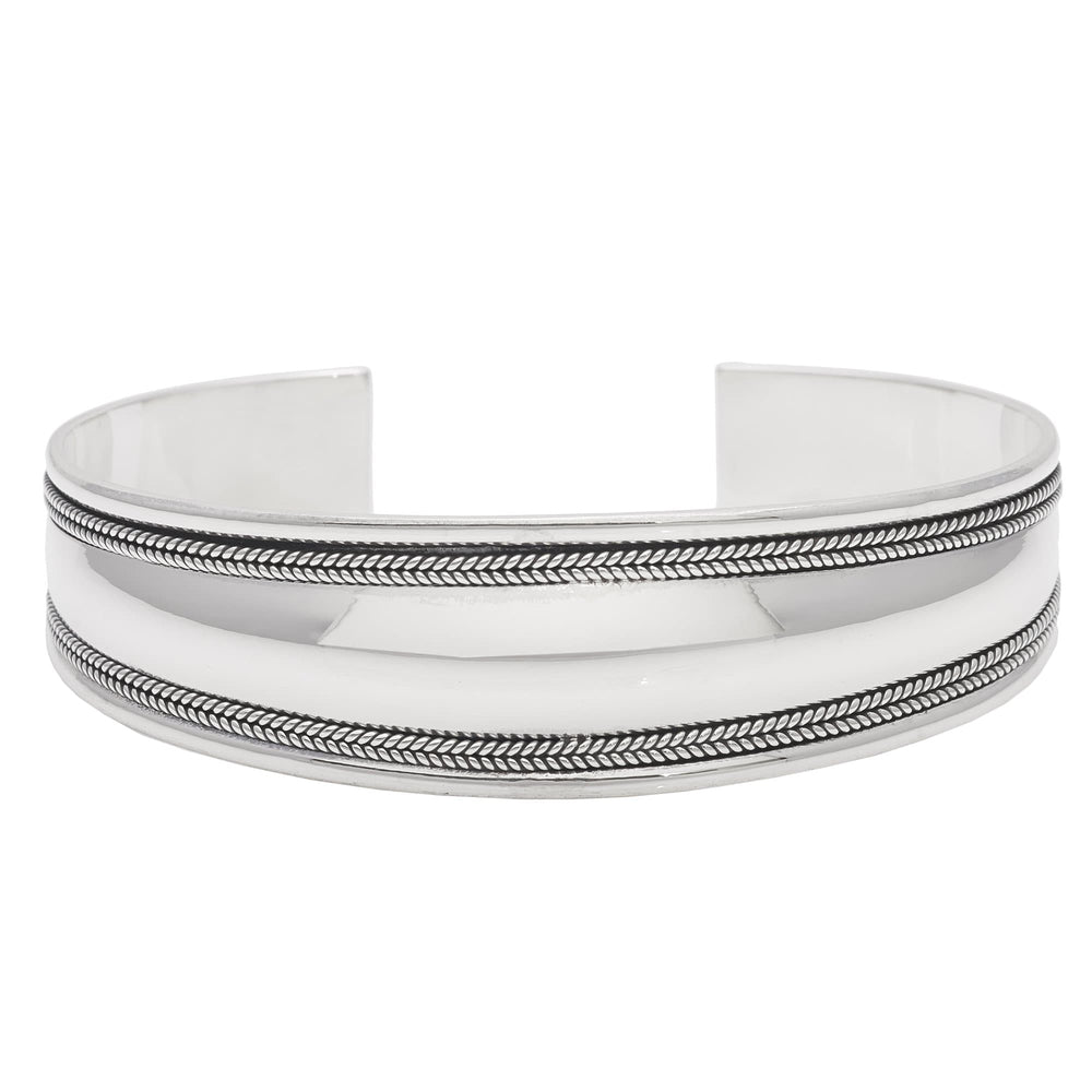 Sterling Silver Rope Design Thick Cuff Bracelet