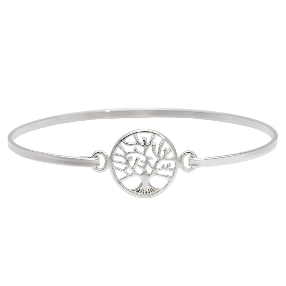 Sterling Silver Tree Of Life Pressure Hook Bracelet - Silverly