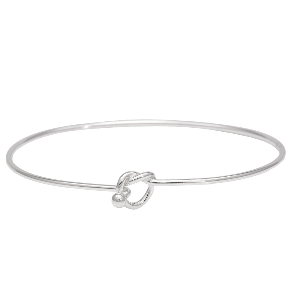 Sterling Silver Hook and Knot Bangle Bracelet - Silverly