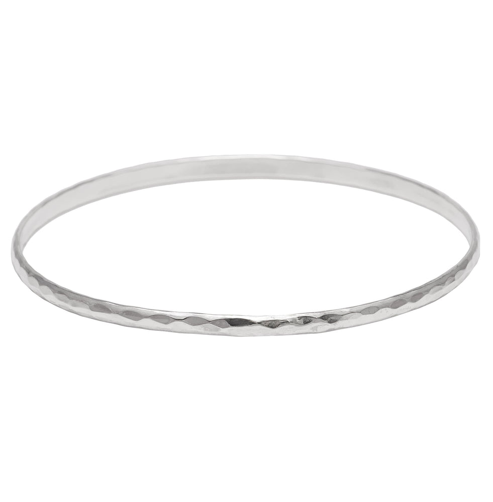 Sterling Silver Slim Hammered Bangle Bracelet - Silverly