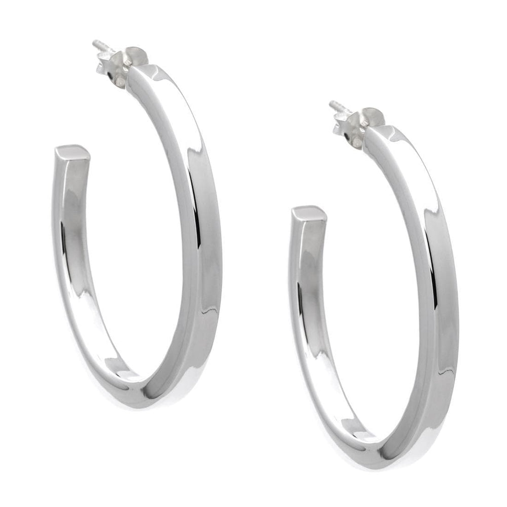 Sterling Silver 35mm Hoop Studs - Silverly