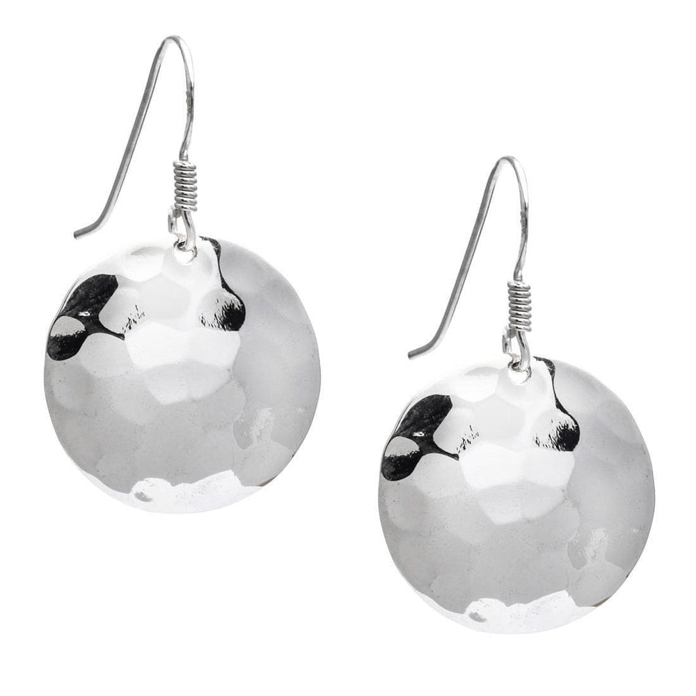 Sterling Silver Round Hammered Disc Earrings - Silverly
