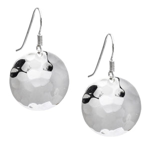 Load image into Gallery viewer, Sterling Silver Round Hammered Disc Earrings - Silverly