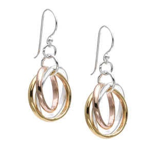 Load image into Gallery viewer, Sterling Silver 18K Rose Yellow Gold Polished Earrings - Silverly