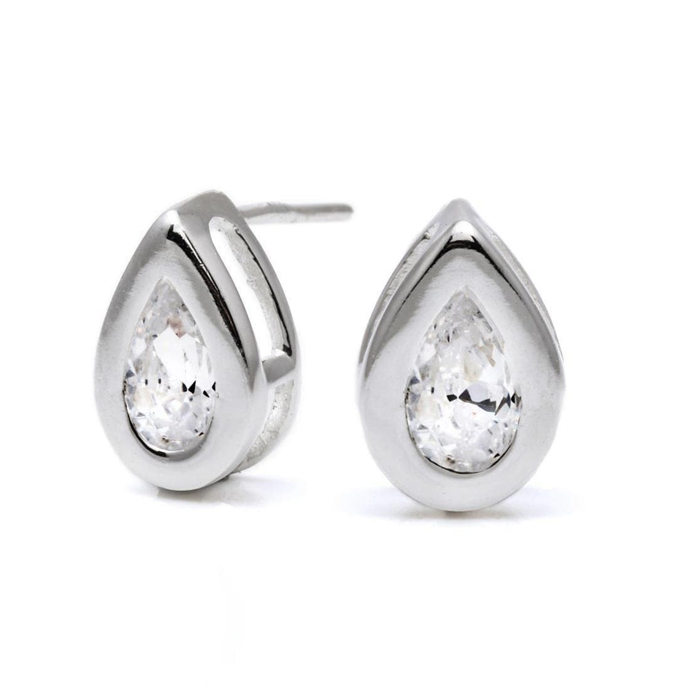 Load image into Gallery viewer, Sterling Silver Teardrop Cubic Zirconia Studs - Silverly