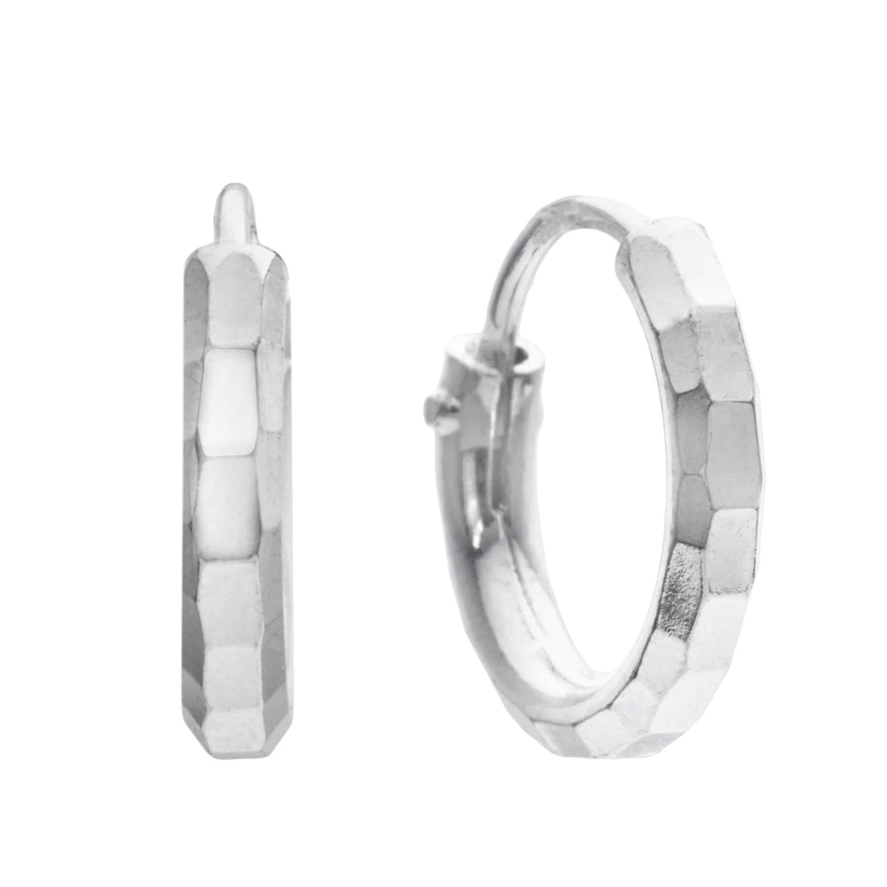 Sterling Silver Hinged Hammered Hoop Earrings - Silverly