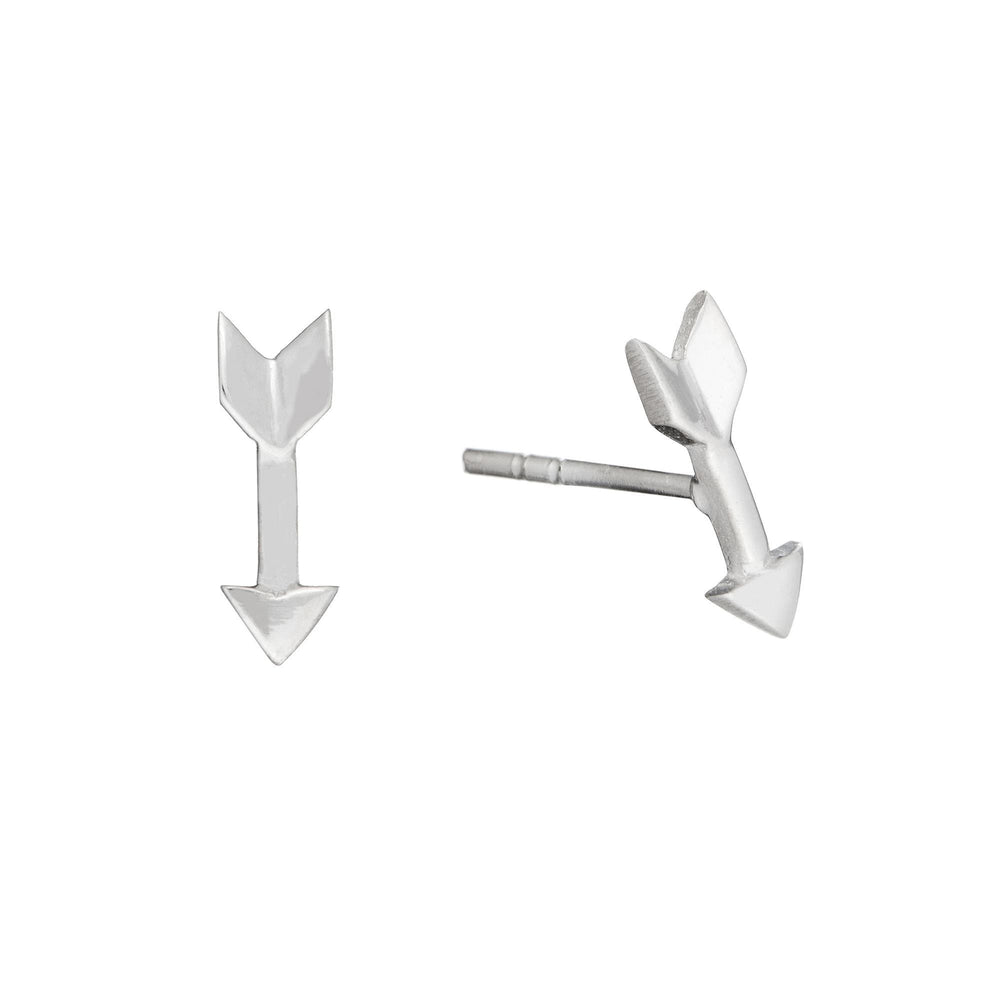 Sterling Silver Small Arrow Flat Stud Earrings