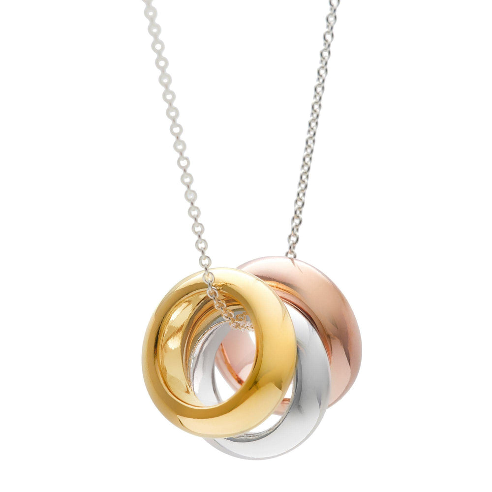 Rose Yellow Gold Plated Sterling Silver 3 Rings Pendant Necklace - Silverly