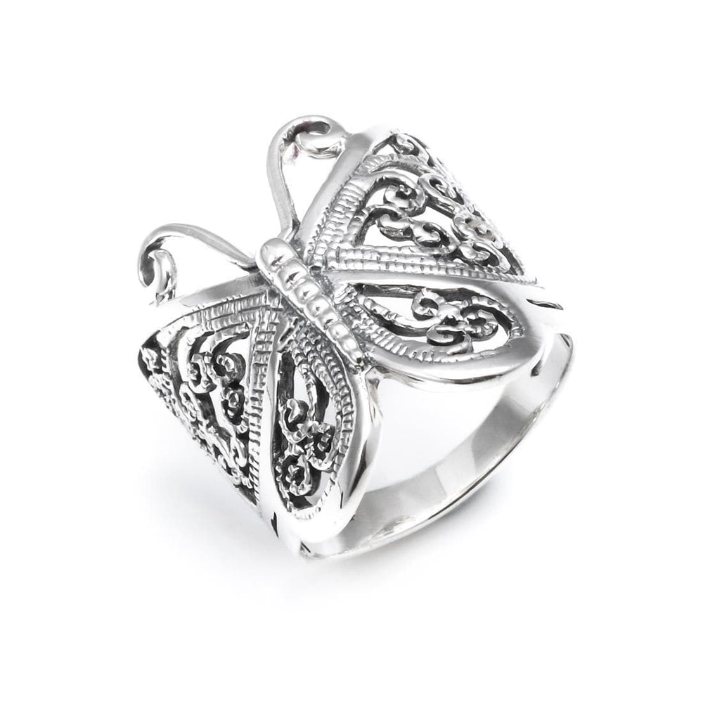 Sterling Silver Filigree Butterfly Ring - Silverly