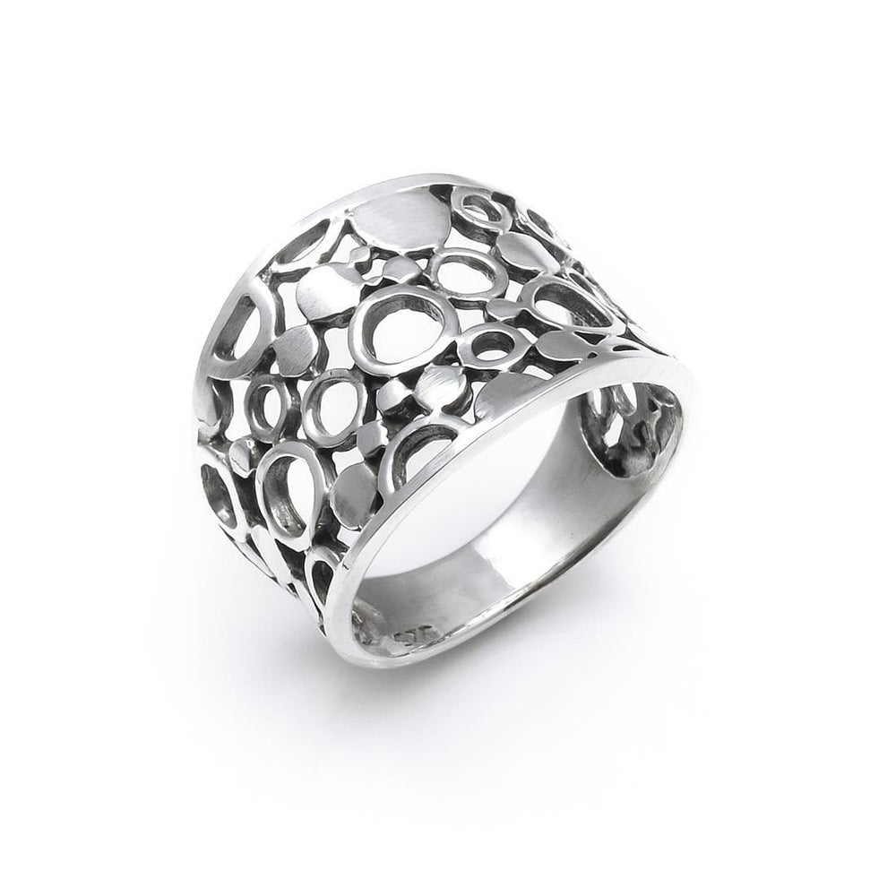 Sterling Silver Wide Filigree Circle Ring - Silverly