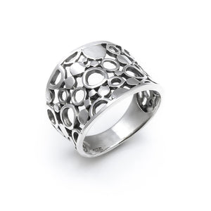 Load image into Gallery viewer, Sterling Silver Wide Filigree Circle Ring - Silverly