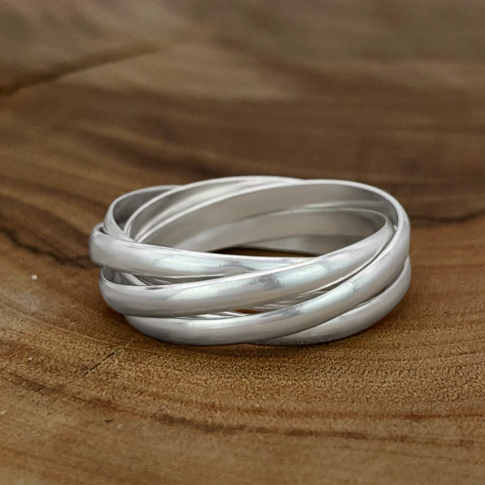 Load image into Gallery viewer, Sterling Silver 5 Band Interlocking Russian Wedding Ring