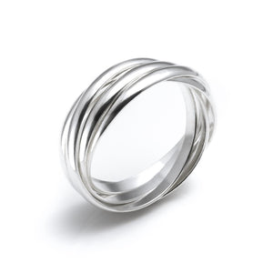 Load image into Gallery viewer, Sterling Silver 5 Band Interlocking Russian Wedding Ring - Silverly