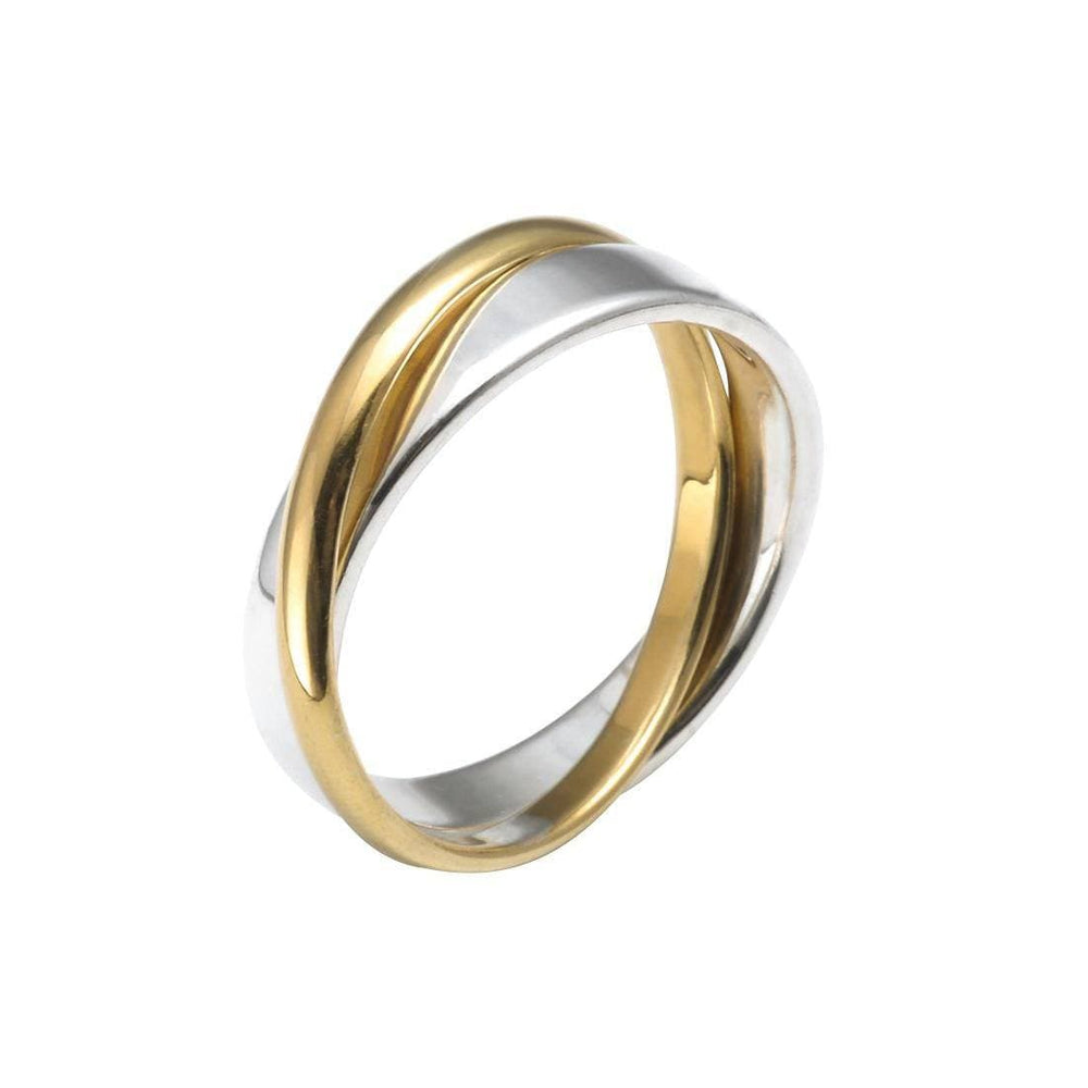 Gold Plated Sterling Silver Yellow Double Band Ring - Silverly